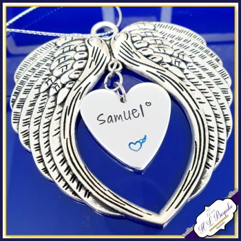 Personalised Christmas Tree Memorial Decoration - Christmas Angel Wings - In Memory Of Christmas - Heart