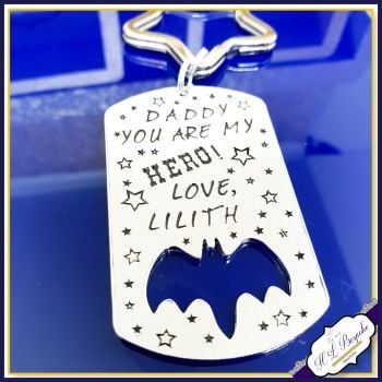 Personalised Father's Day Keyring - Grandad Keyring - You Are Our Hero - Personalised Bat Keyring - Bat Keychain - Metal Bat Keychain