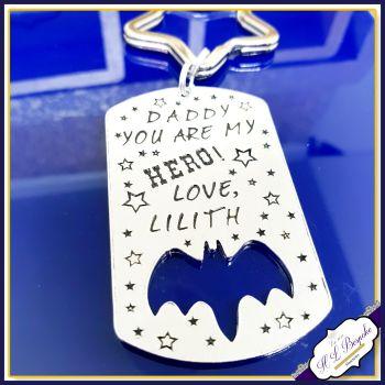 Personalised Father's Day Keyring - Grandad Keyring - You Are Our Hero - Personalised Bat Keyring - Bat Keychain - Metal Bat Keychain