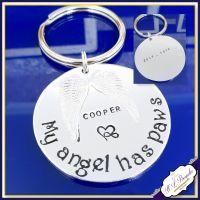 Double Sided Pet Memorial Keychain - Pet Memorial Keyring - My Angel Has Paws - In Memory Of Pet - Pet Loss Gift - Dog Memorial