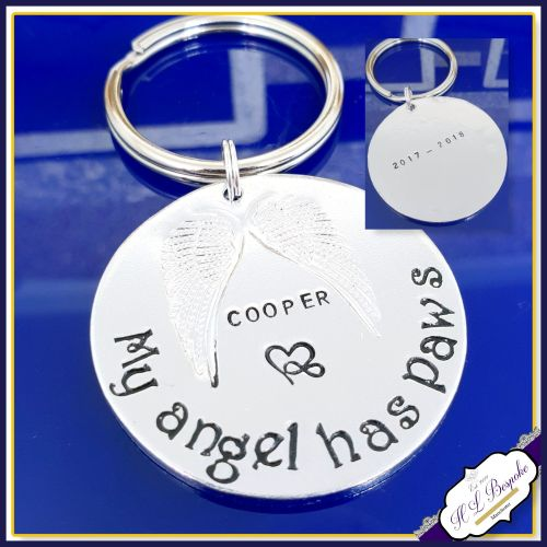 Double Sided Pet Memorial Keychain - Pet Memorial Keyring - My Angel Has Pa