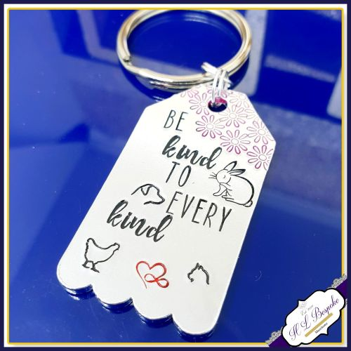 Vegan Keychain - Be Kind To Every Kind - Vegan Gift - Animal Kindness - Ve