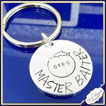 Personalised ADULT Humour Fishing Keyring - Master Baiter Gift - Funny Fishing Gift - Angling Gift - Rude Fishing Gift Keyring - Fisherman