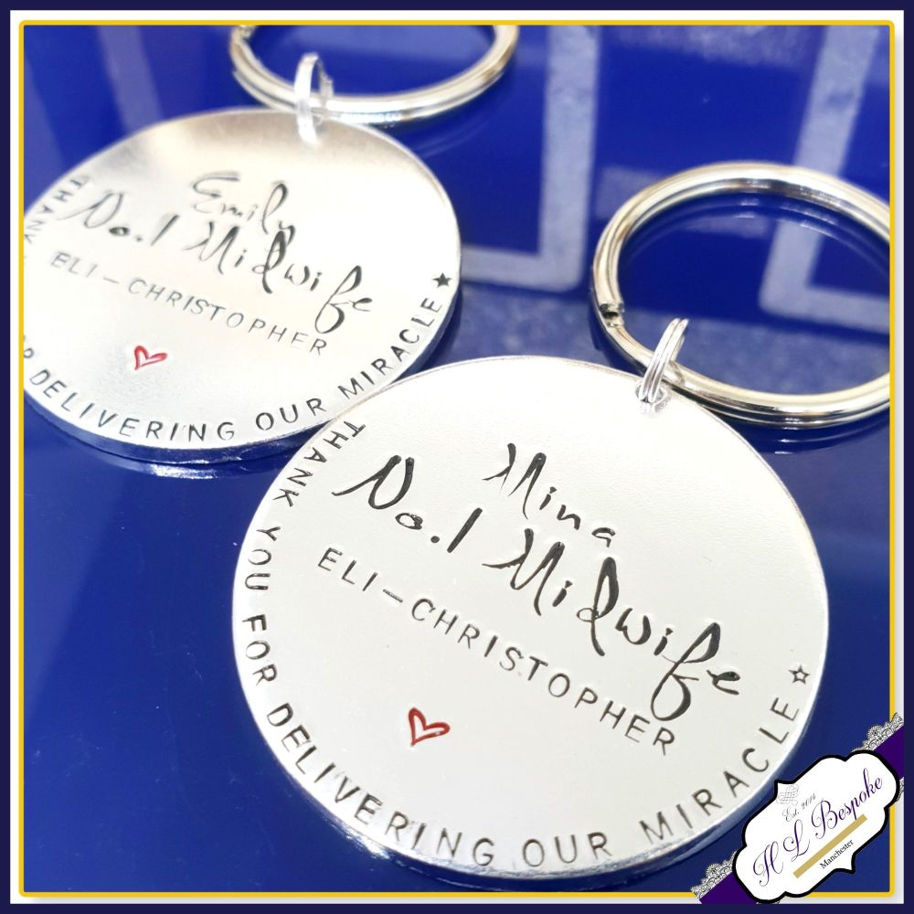Personalised Midwife Gift - Midwife Keyring - Gift For Midwife - Number 1 M