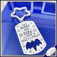 My Daddy My Hero - Personalised Bat Keyring - Our Daddy Our Hero - Bat Keychain - Father's Day Keyring - Metal Keyring - Best Daddy Keyring
