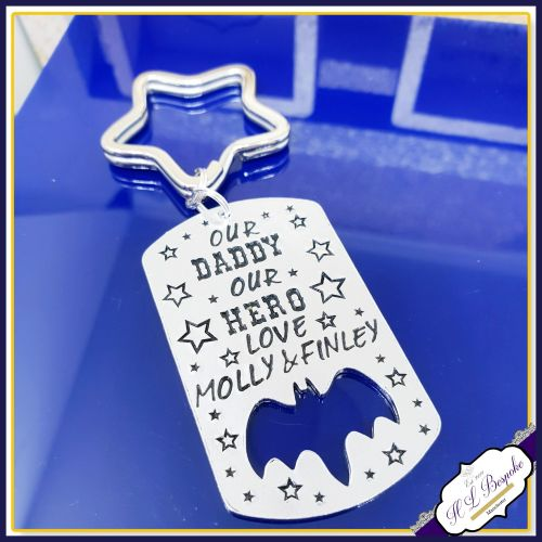 My Daddy My Hero - Personalised Bat Keyring - Our Daddy Our Hero - Bat Keyc