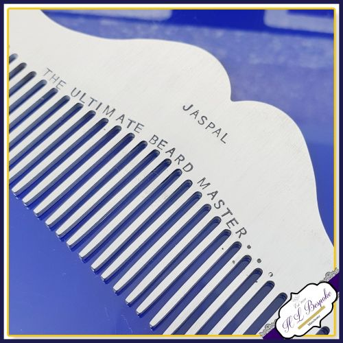 Personalised Beard Comb - Stainless Steel Beard Comb - Beard Master Comb -