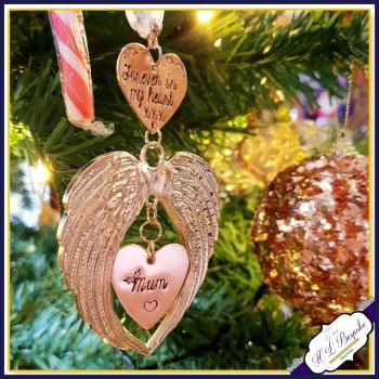 Personalised Copper Christmas Memorial Decoration - Christmas Tree Angel Wings - In Memory Of At Christmas - Memorial Christmas Tree - Gold