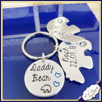 Personalised Daddy Bear Keyring - Pappa Bear Gift - Daddy Bear and Baby Bear Gift - Dad & Baby Gift - Daddy Keyring - Gifts For Daddy