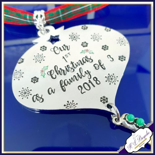 Personalised Christmas Decoration - Our First Christmas As A Family Of Thre