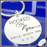Personalised Fishing Keyring - Hooked On You Gift - Couple Fishing Gift - Angling Gift - Fishing Keychain - Angling - Fisherman