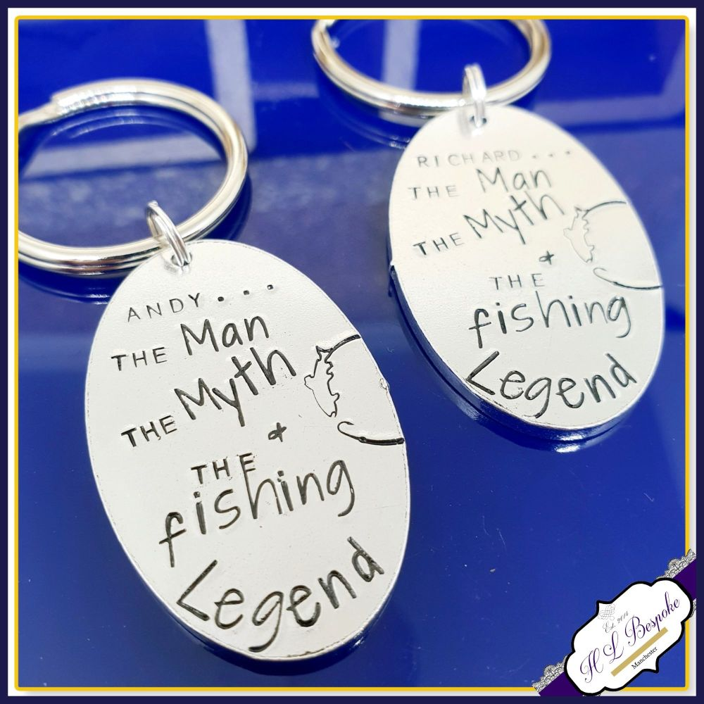 Personalised Fishing Keyring - The Man The Myth The Legend Gift - Funny Fi