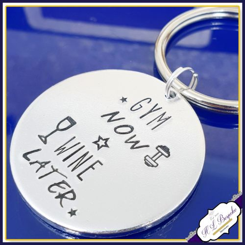 Gym Now Wine Later Keyring - Wine Keyring - Gym Keyring - Wine Lover Gift -