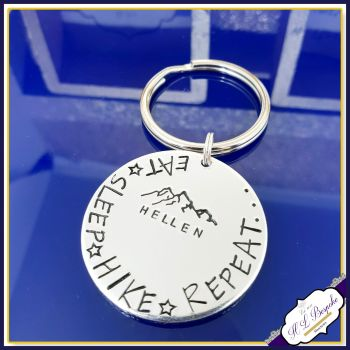 Personalised Hiking Gift - Hiker Keychain - Eat Sleep Hike Repeat Keyring - Mountaineer Gift - Hiking Love Gift - Hiker- Gift For Hiker