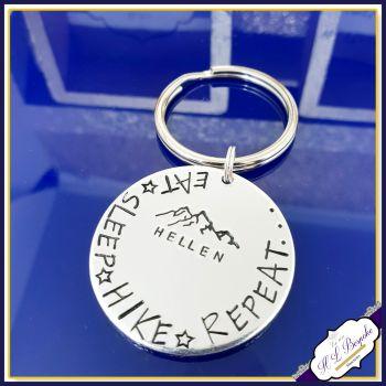 Personalised Hiking Gift - Hiker Keychain - Eat Sleep Hike Repeat Keyring - Mountaineer Gift - Hiking Love Gift - Hiker- Gift For Hiker