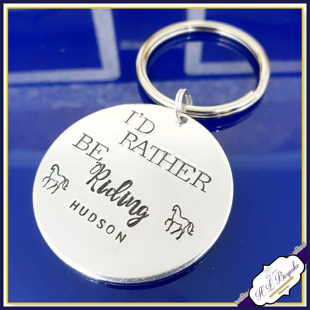 Personalised Horse Rider Gift - I'd Rather Be Gift - Horse Riding Keyring -