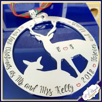 Personalised Our First Christmas As Mr & Mrs - Stag Christmas Decoration - From Us To You At Christmas - Your WORDING - Chrismtas Bauble