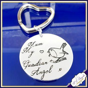 Personalised Memorial Keyring - Guardian Angel Gift - Robin Keyring - Robin Angel Keyring - In Memory Of Angel Keychain - Spiritual Gift