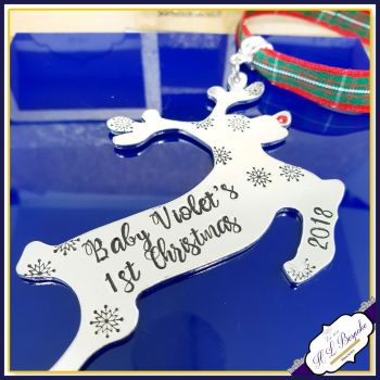 Personalised Baby Boy's First Christmas Decoration - New Baby Christmas Tree Hanging - Rudolph Christmas Decoration - Baby's First Decor
