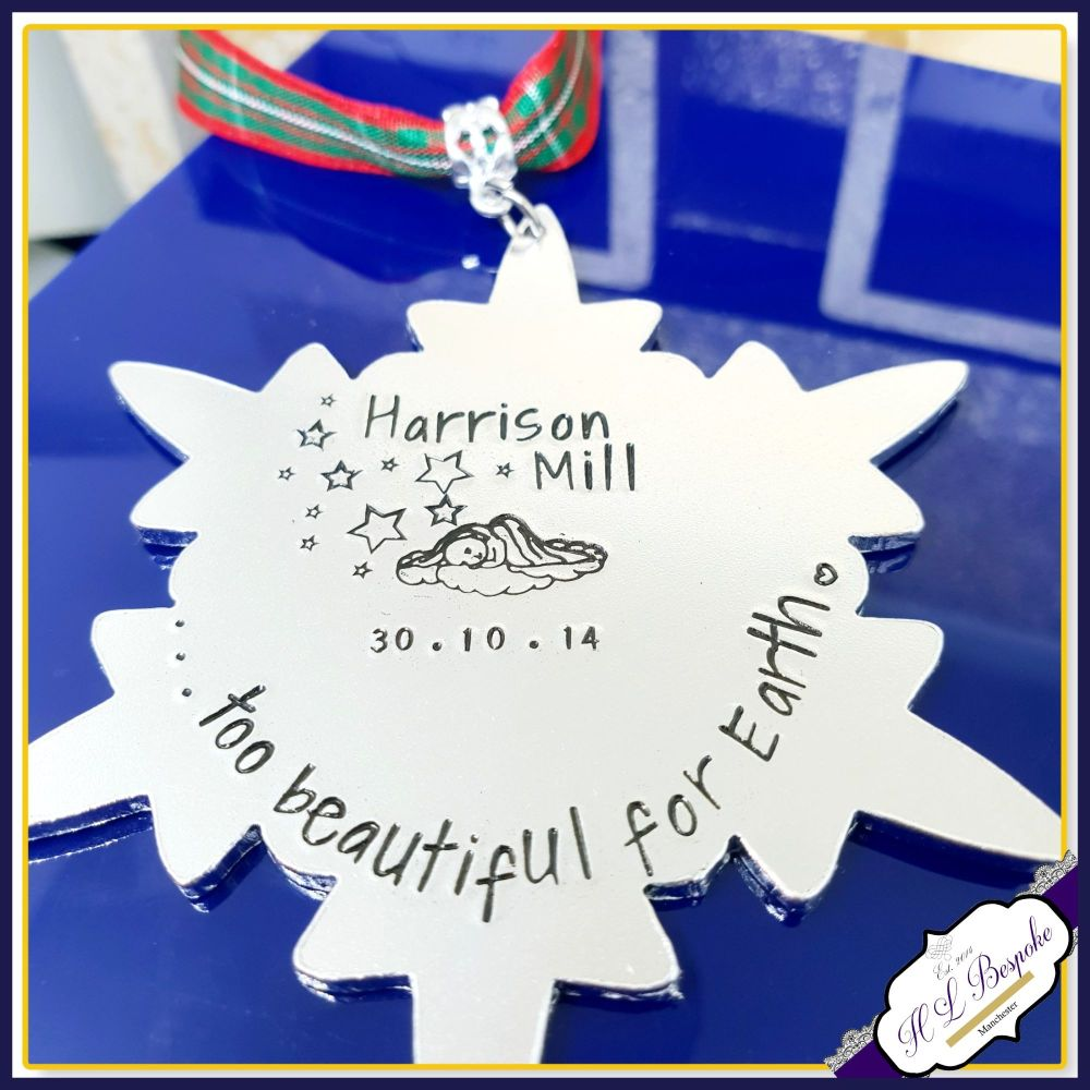 Personalised Angel Baby Christmas Tree Decoration - Baby Loss Memorial Orna