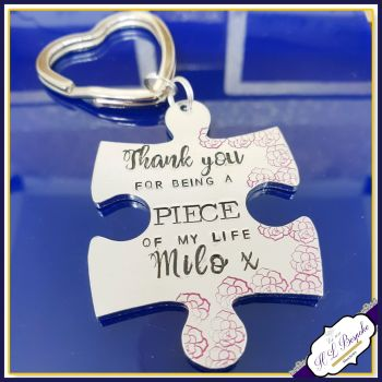 Personalised Puzzle Piece Keyring - Thank You For Being A Piece Of My Life Keychain - Thank You Gift - With Thanks Keyring - Custom Wording