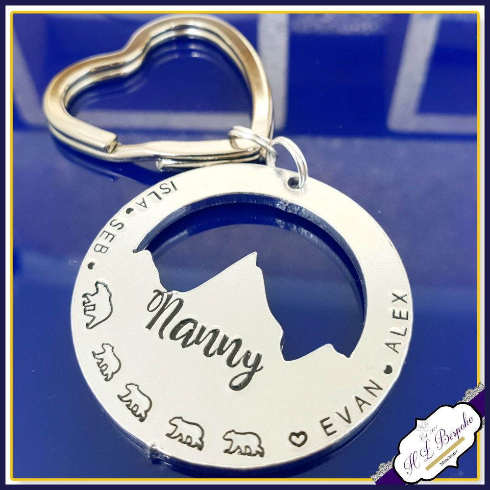 Personalised Nanny Bear Keyring - Nanny Bear Gift - Mountain Keyring - This