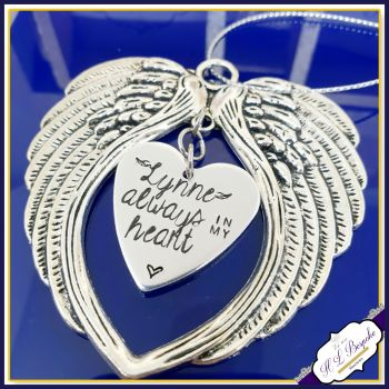 Personalised Christmas Tree Memorial Decoration - Always In My Heart - Christmas Angel Wings - In Memory Of Christmas - Tree Decor - Heart