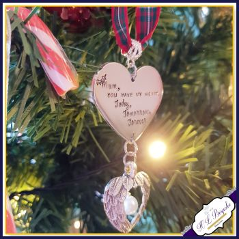 Personalised Christmas Tree Memorial Decoration - Your OWN WORDING - Christmas Angel Wings - In Memory Of Christmas - Tree Decor - Heart