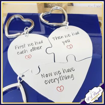 Personalised New Baby Gift - Puzzle Heart Gift - Mummy Daddy Baby Gift - New Baby Gift - New Mummy Keyring - New Daddy Keyring - New Baby