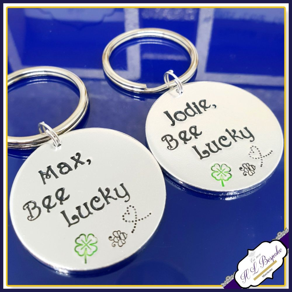 Personalised Bee Lucky Keyring - Bee Gift - Be Lucky Gift - Bee Lucky Keych