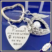 Pet Memorial Keychain - Pet Loss Gift - Forever Loved Gift - Forever In My Heart Keychain - Dog Loss Keyring - Angel Wings - In Memory Of