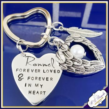 Pet Memorial Keychain - Pet Loss Gift - Forever Loved Gift - Forever In My Heart Keychain - Dog Loss Keyring - Angel Wings - In Memory Of