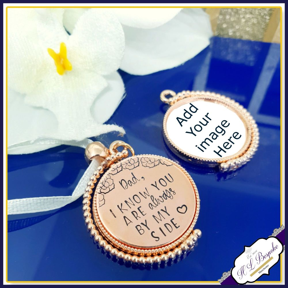 Personalised Rotating Rose Gold Photo Bouquet Charm - Memorial Bouquet Char