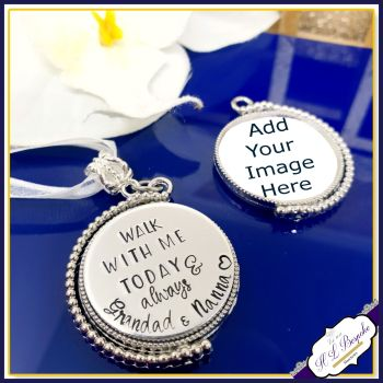 Personalised Rotating Silver Photo Bouquet Charm - Memorial Bouquet Charm - Bridal Photo Bouquet Charm - Personalised Wedding Bouquet Charm - Memorial