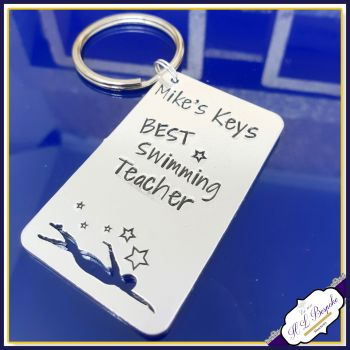 Personalised Swimmer Gift - Swimmer Keyring - Eat Sleep Swim Repeat Keyring - Custom Swimmer Gift - Swimming Keychain - Swimming Keychain
