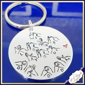Personalised BSL Keyring - I Love You Daddy - BSL Gift - British Sign Language Gift - BSL Daddy - Sign Language Gift - Signer Gift