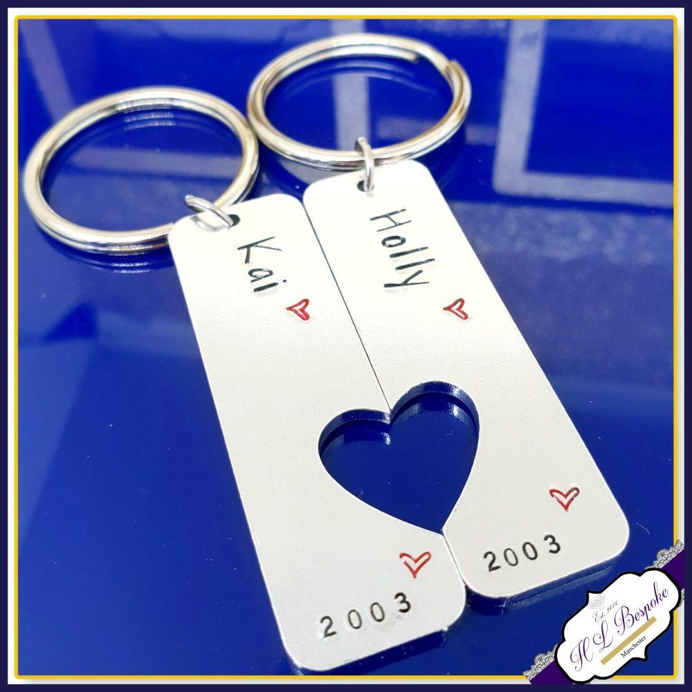Personalised His & Her Keyrings - Couples Valentine's Keyring Set - Valenti