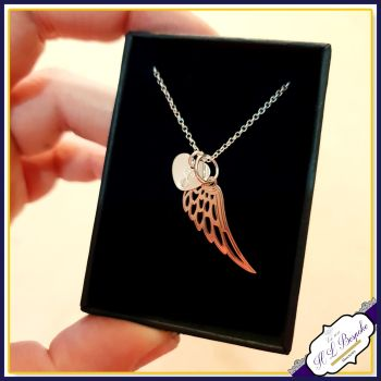 Personalised Angel Wing Necklace - Silver & Rose Gold Necklace - Guardian Angel Necklace - In Memory Of Pendant - Rose Gold Jewellery