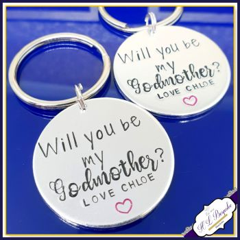 Personalised Will You Be My Godparent Gift - GodParent Keyring - Will You Be My Godfather - Will You Be My Godmother - Asking A Godparent