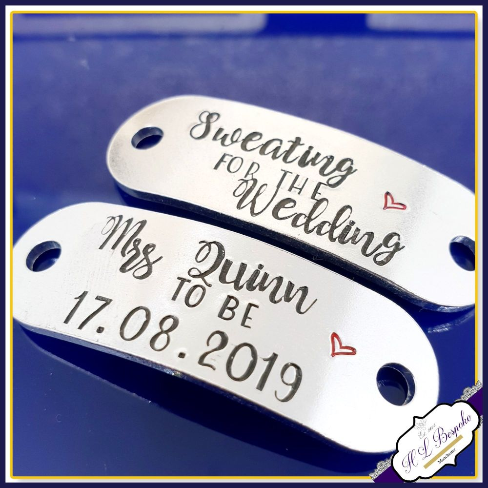 Personalised Sweating For The Wedding Trainer Tags - Bride Gym Gift - Brid