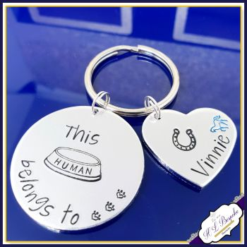 Personalised Horse Rider Gift - This Human Belongs To Keyring - Horse Gift - Horse Owner Gift - This Human - Horse Rider - Horse Lover Gift