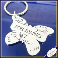 Personalised Godsister Gift - Godsister Keyring - Godsister Keychain - Thank You For Being My Godsister - Butterfly Godsister