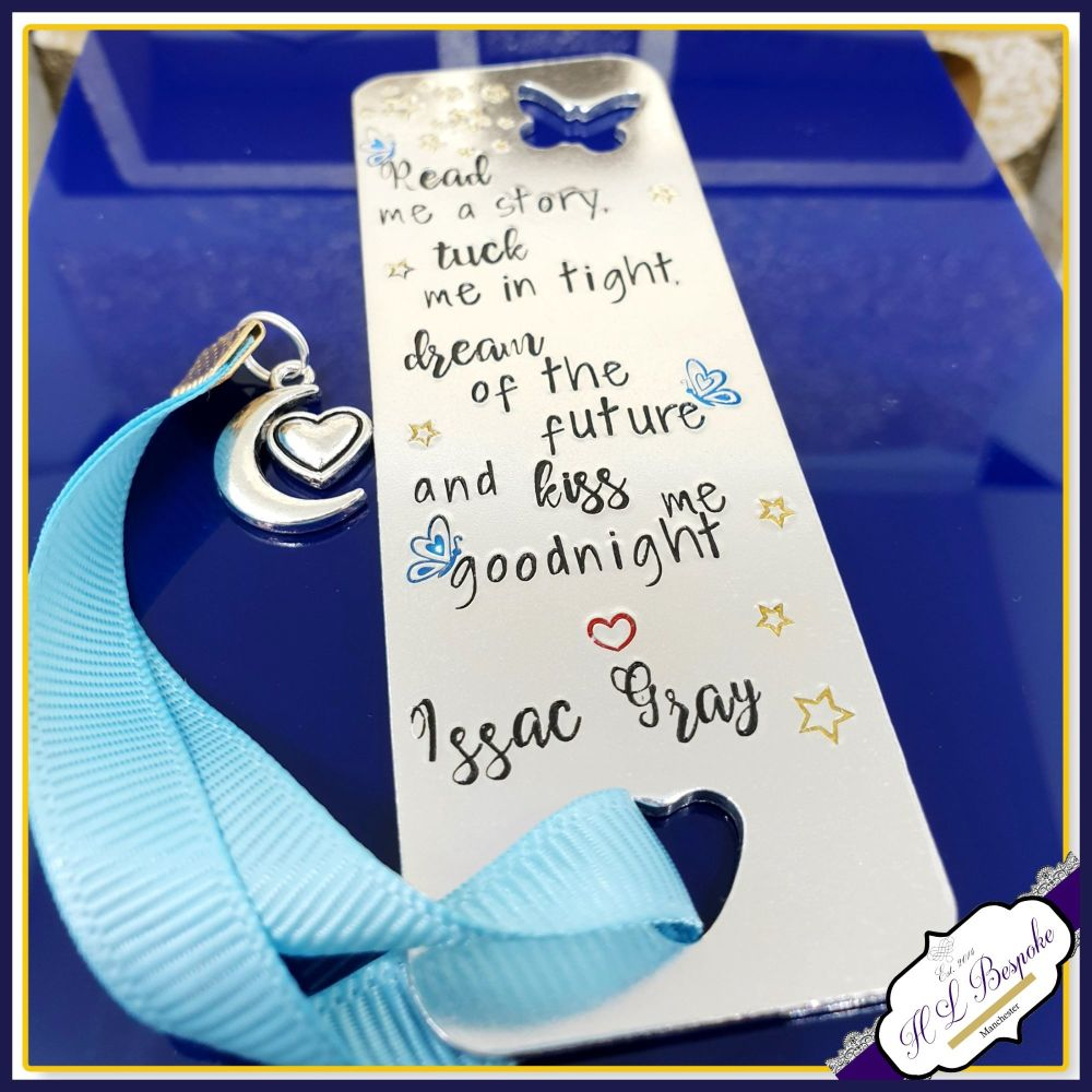 Personalised Children's Bookmark - Read Me A Story, Tuck Me In Tight, Say A