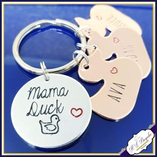 Personalised Mummy Duck Keyring - Mama Duck Keychain - Duck Gift - Mummy Du