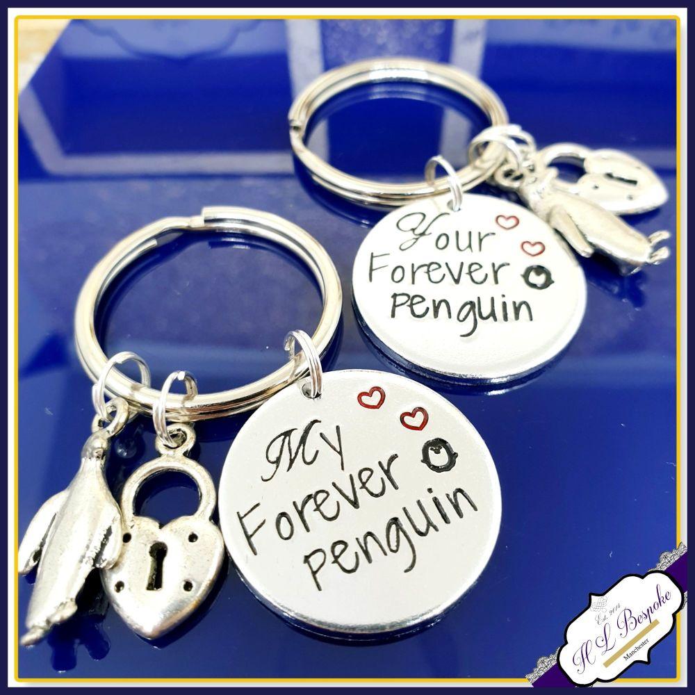 Couples Keyrings - My Forever Penguin - Your Forever Penguin - Pair Of Key