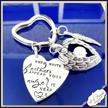 Memorial Keychain - White Feathers Appear - Bereavement Keyring - White Feathers Angel Gift - In Memory Of Keyring - Angel Wing Keyring