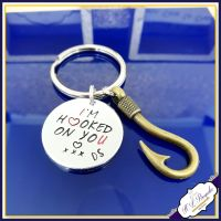 Hooked On You Keyring - Fisherman Keyring - Hooked On You Keychain - Valentines Keyring - Valentine's Gift - Gift For Fisher - Fishing Gift