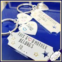 Personalised Godparent Gifts - Godmother Keyring - Personalised Godfather Keyring - This Godfather Belongs To Keyring - Godparent Gift - Godparent Key