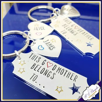 Personalised Godparent Gifts - Godmother Keyring - Personalised Godfather Keyring - This Godfather Belongs To Keyring - Godparent Gift - Godparent Key