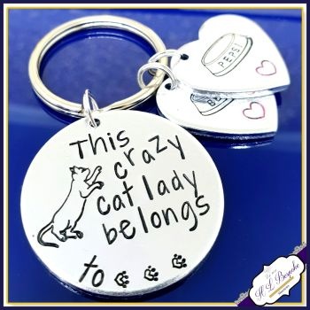 Crazy Cat Lady Keyring - Cat Lady Belongs To Gift - Cat Mum Gift - Cat Owner Gift - This Human Keyring - Cat Lover Keyring - Pet Lover Gift